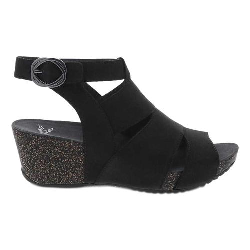 Dansko Women's Sera Black Milled Nubuck Sandals Black.Nbk