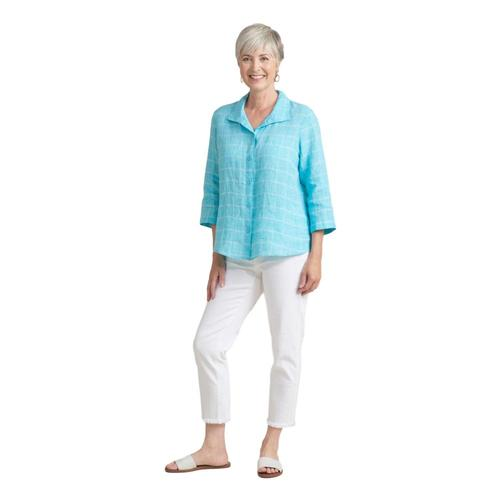 Habitat Women's Windowpane Linen Retro Shirt Oasis
