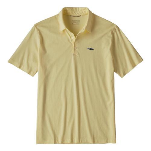 Patagonia Mens Polo Trout Fitz Roy Shirt Yellow_reye