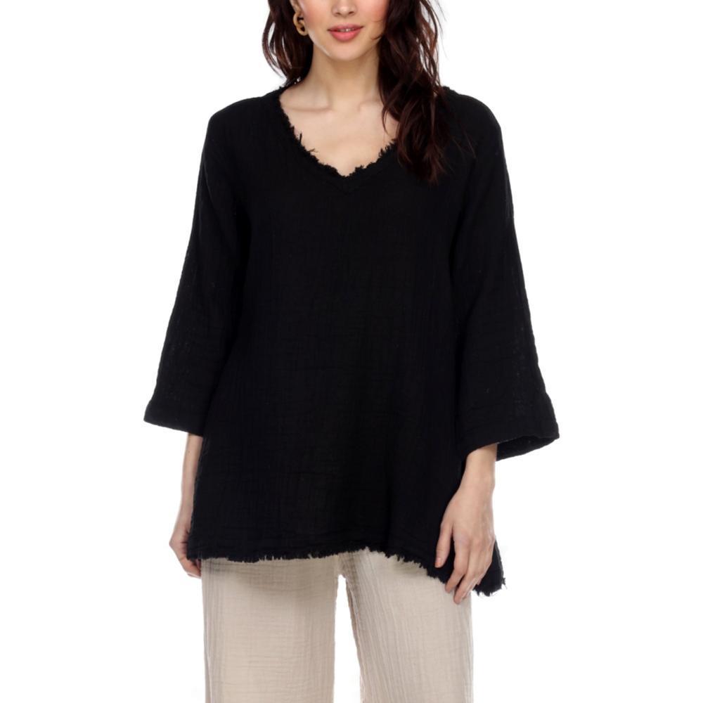 Honest Cotton Women's Frayed Tunic BLACK