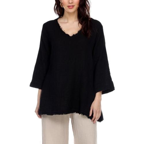 Honest Cotton Women's Frayed Tunic Black