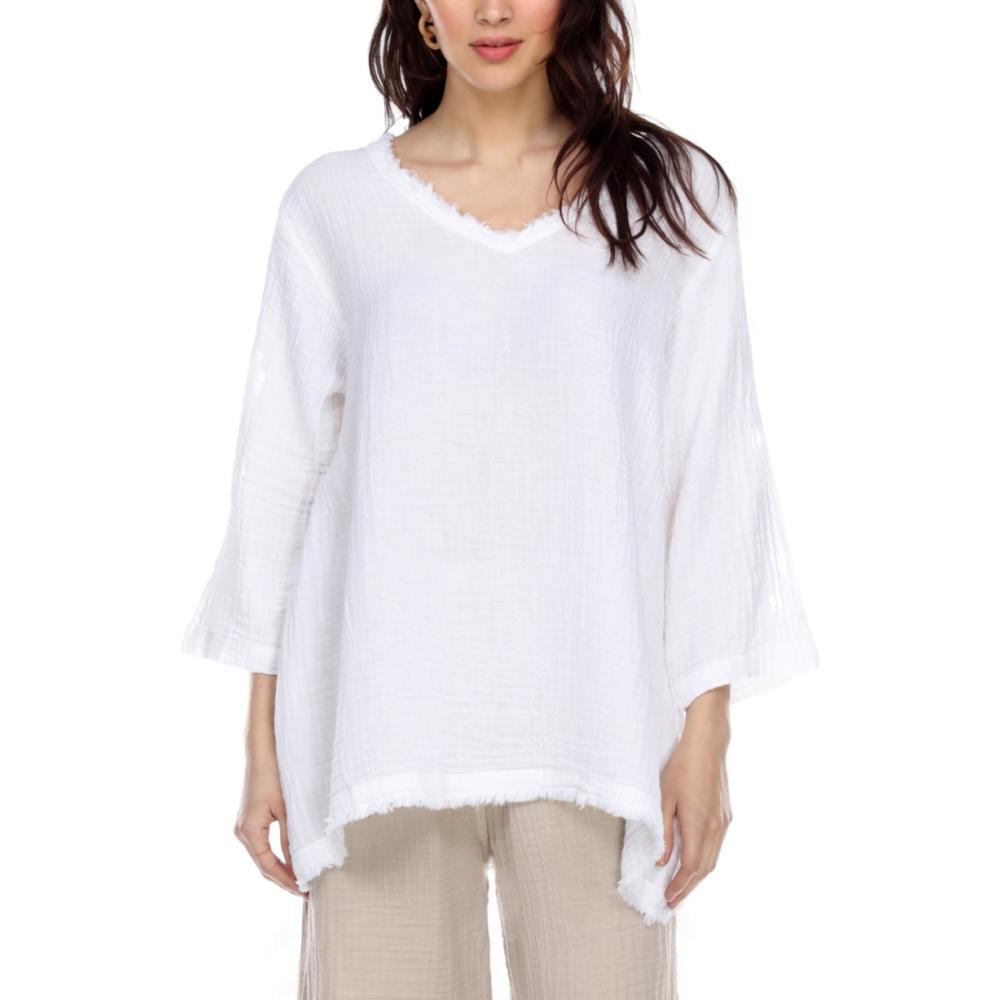 Honest Cotton Women's Frayed Tunic WHITE
