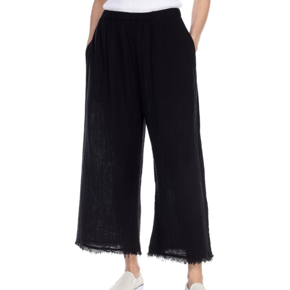 Honest Cotton Women's Frayed Crop Palazzo Pants BLACK