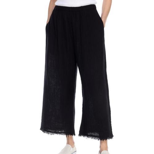 Honest Cotton Women's Frayed Crop Palazzo Pants Black
