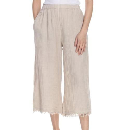 Honest Cotton Women's Frayed Crop Palazzo Pants Ecru