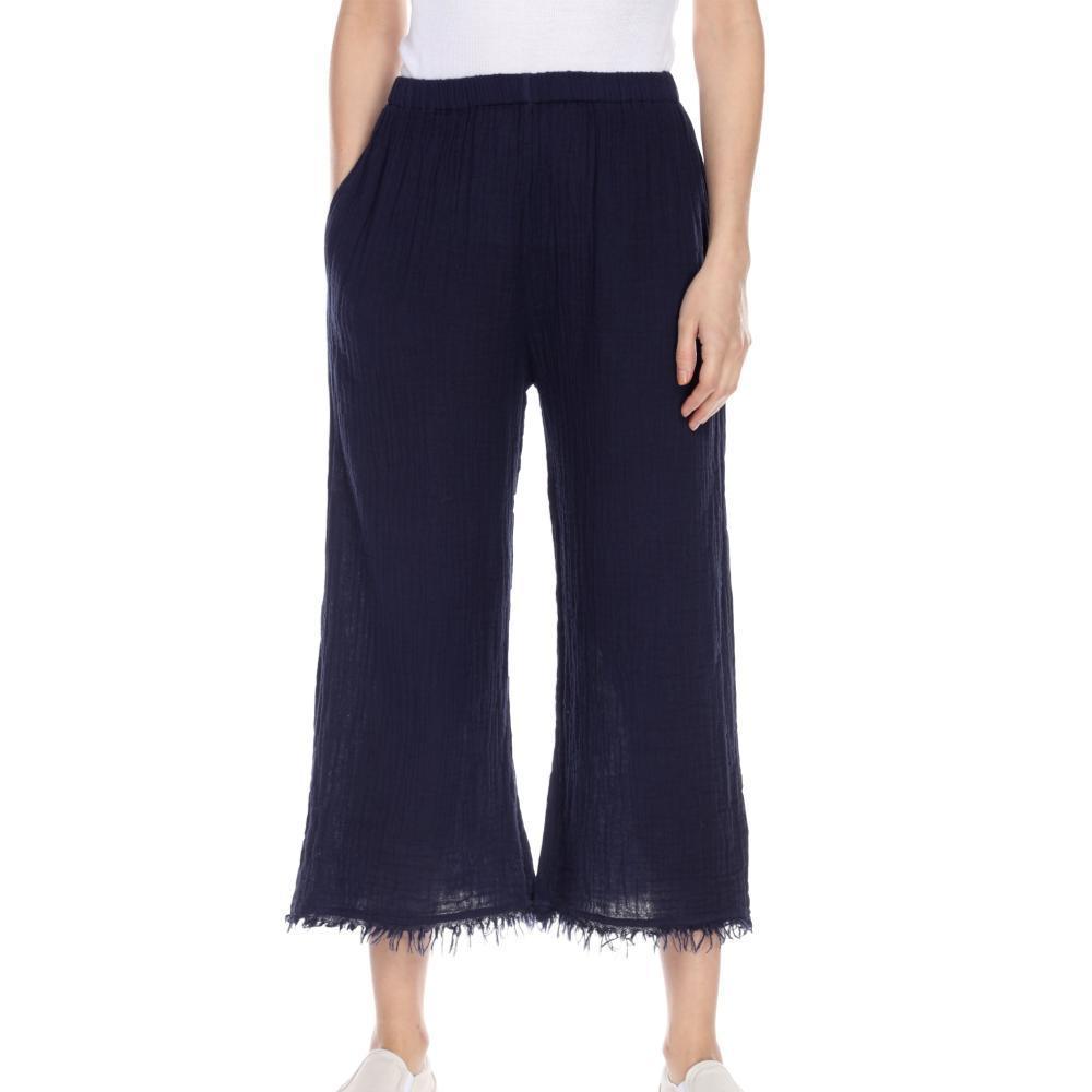 Honest Cotton Women's Frayed Crop Palazzo Pants NAVY