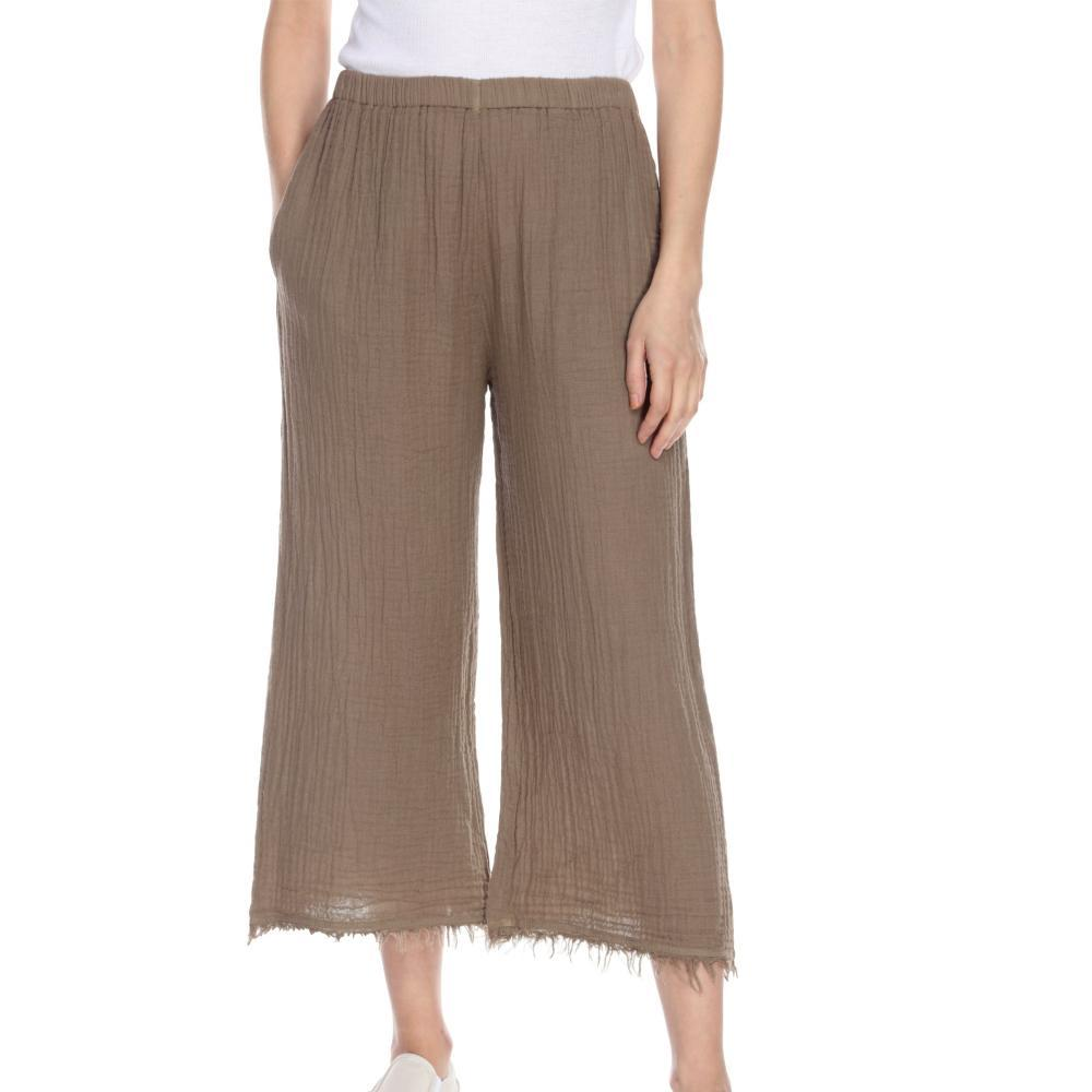 Honest Cotton Women's Frayed Crop Palazzo Pants TAUPE