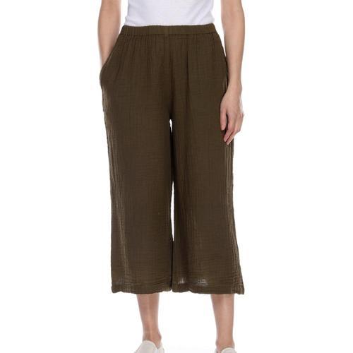 Honest Cotton Women's Crop Palazzo Pants Olive