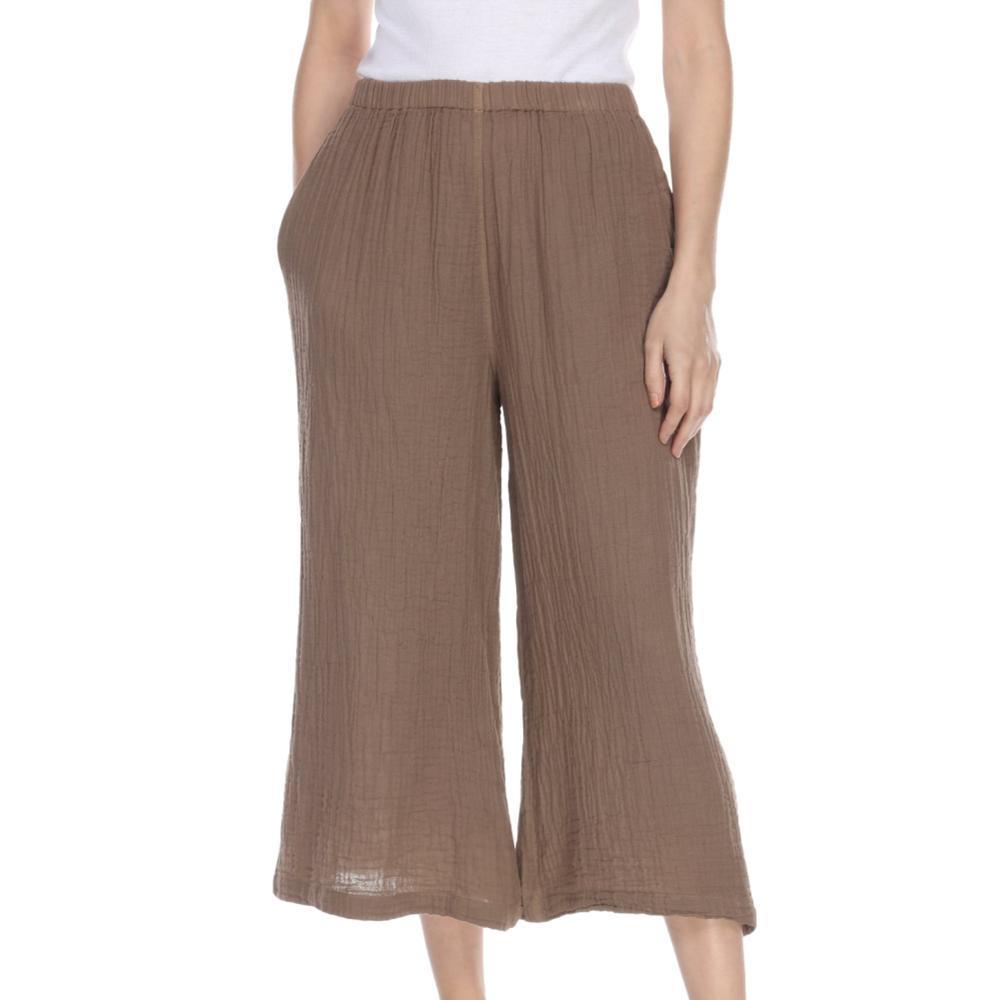 Honest Cotton Women's Crop Palazzo Pants TAUPE