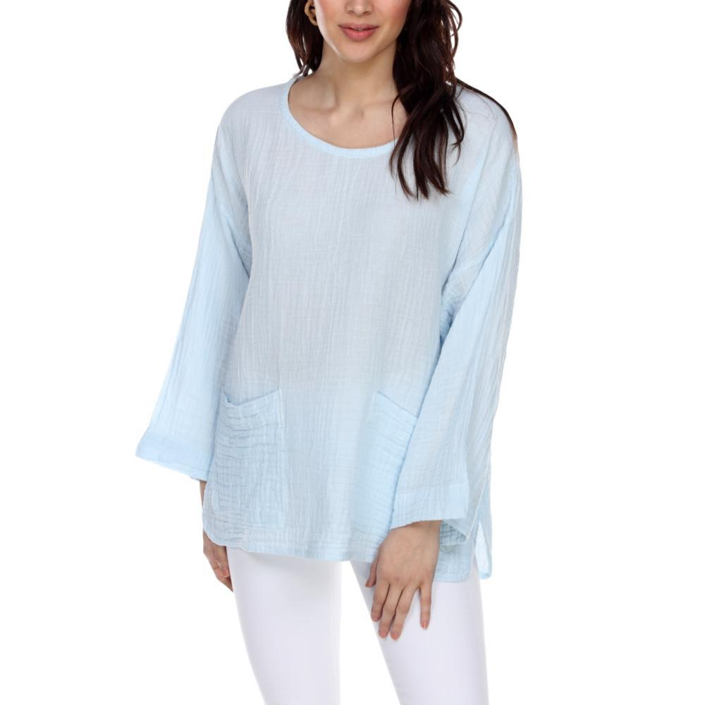 Honest Cotton Women's Beach Pocket Tunic BABYBLUE