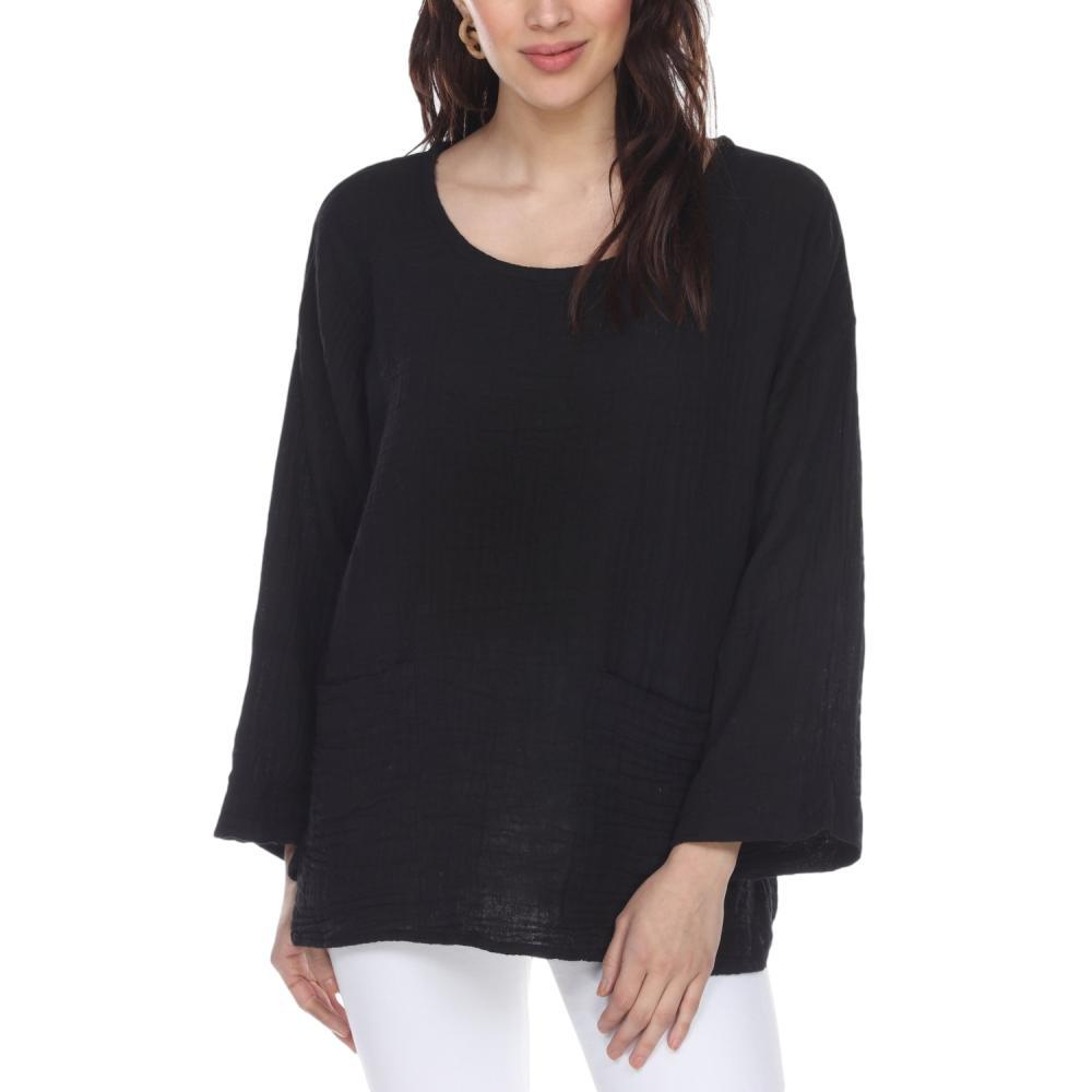 Honest Cotton Women's Beach Pocket Tunic BLACK