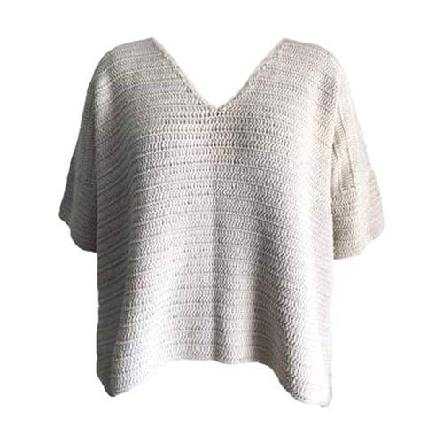 Honest Cotton Women's Kennedy Crochet Sweater Cream