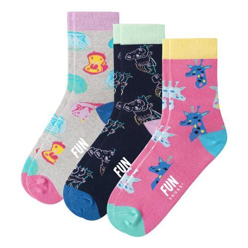 Fun Socks Kids Zoo Animal Socks 3-Pack Zoopink