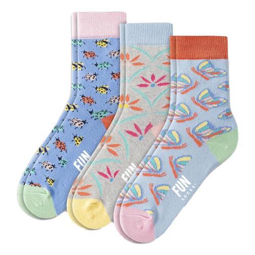 Fun Socks Kids Butterfly Crew Crew Socks - 3 Pack Butterfly