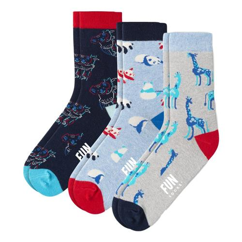 Fun Socks Kids Safari Socks 3-Pack Zooblue