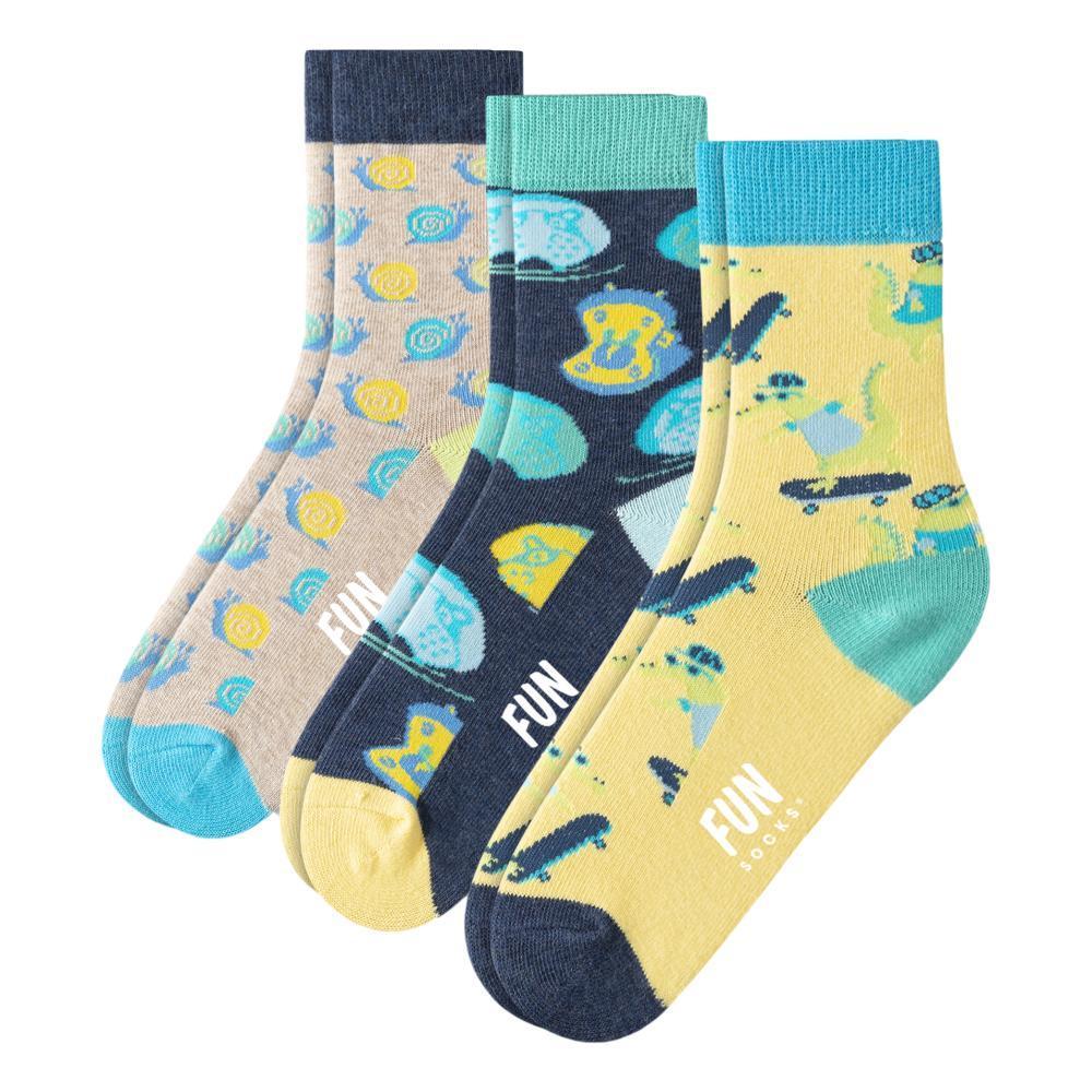 Fun Socks Kids Skateboard Crew Socks 3- Pack