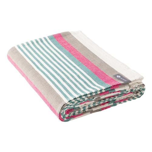 Halfmoon Cotton Yoga Blanket - Beach Stripe Inked_canvas