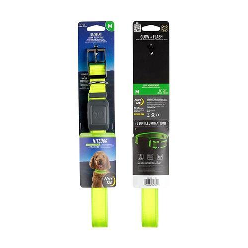 Nite Ize NiteDog Rechargeable LED Collar - Medium Lime_grn_led