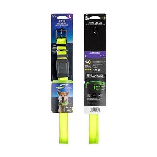 Nite Ize NiteDog Rechargeable LED Collar - Large Lime_grn_led