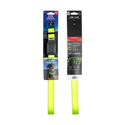 Nite Ize NiteDog Rechargeable LED Collar - XL Lime_grn_led