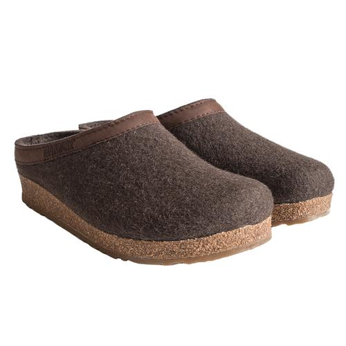 Haflinger Men's GZL Wool Felt Grizzly Clogs Smkbrn_63h