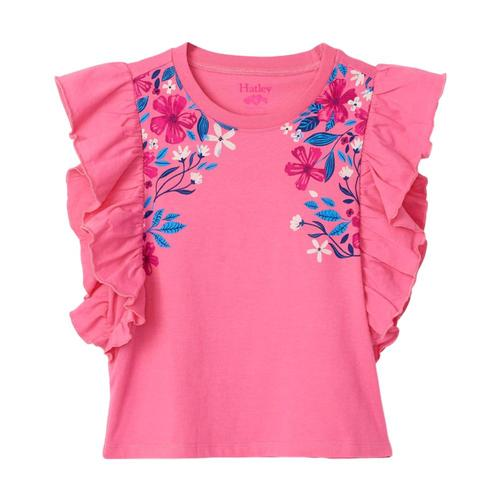 Hatley Girls Summer Blooms Ruffle Tee Gerpink