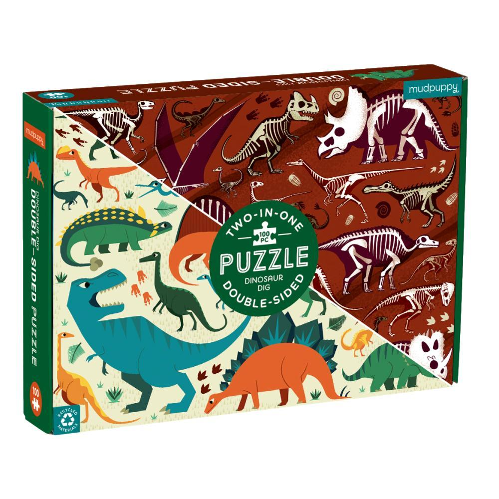 Mudpuppy Dinosaur Dig 100 Piece Double- Sided Jigsaw Puzzle