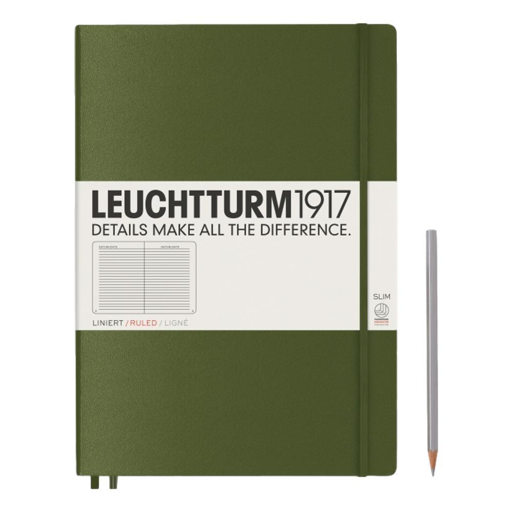 Leuchtturm1917 Hardcover Ruled Master Slim Notebook ARMY