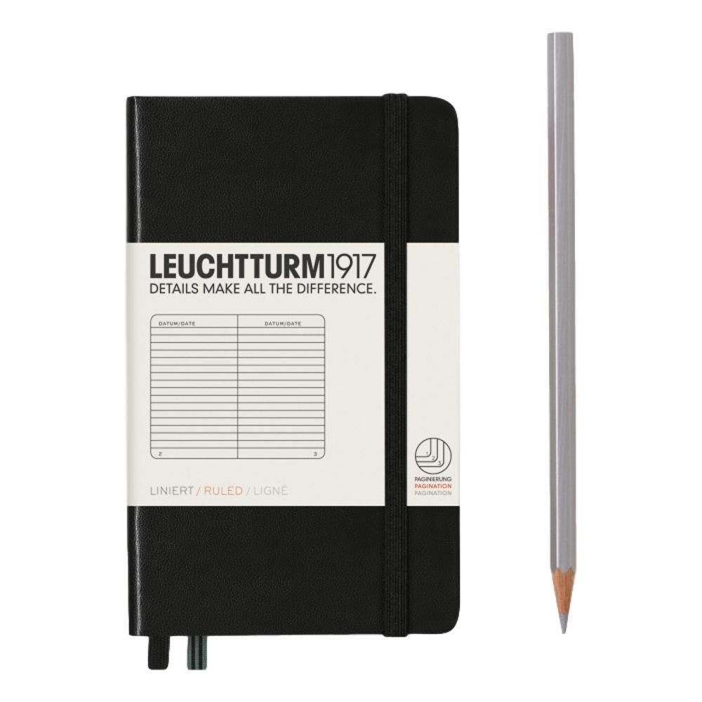 Leuchtturm1917 Hardcover Ruled Pocket Notebook BLACK