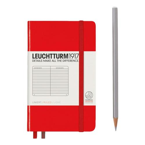 Leuchtturm1917 Hardcover Ruled Pocket Notebook Red