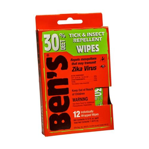 Ben's 30 Tick & Insect Repellent Wipes - 12 Pack