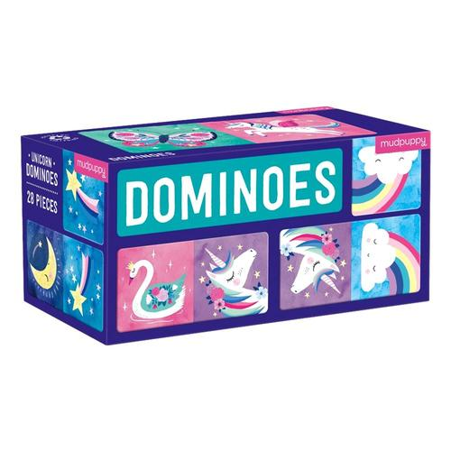 Mudpuppy Unicorn Dominoes .
