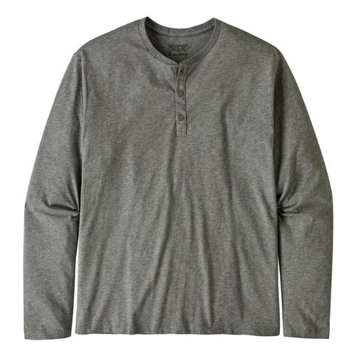 Patagonia Men's Long-Sleeved Organic Cotton Lightweight Henley Pullover Grey_fea