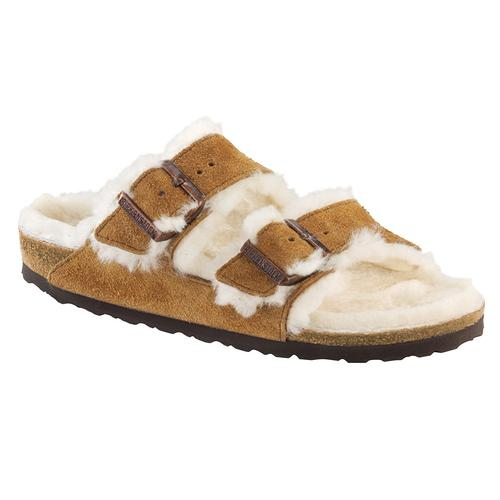 Birkenstock Women's Arizona Suede Leather Shearling Clogs - Narrow Minknat.Sd
