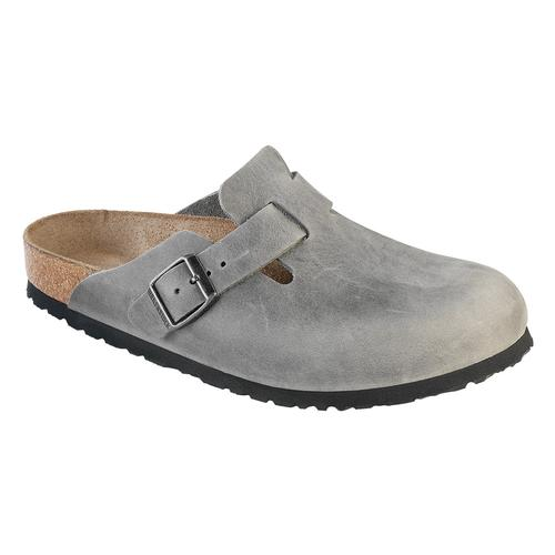 Birkenstock Women's Boston Soft Footbed Oiled Leather Clogs - Narrow Iron