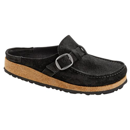 Birkenstock Women's Buckley Suede Leather Clogs - Narrow Black.Sd