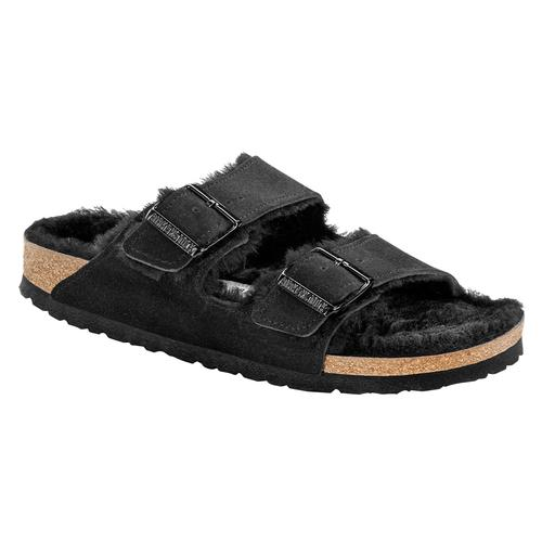 Birkenstock Women's Arizona Suede Leather Shearling Clogs - Narrow Black.Sd