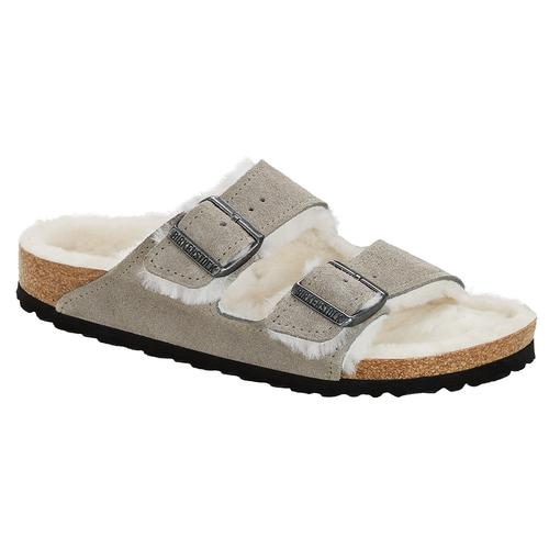 Birkenstock Women's Arizona Suede Leather Shearling Clogs - Narrow Stone.Sd