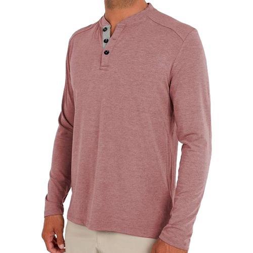 Free Fly Men's Bamboo Flex Henley Shirt Adobered_106