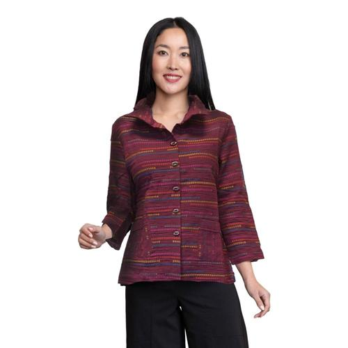 Habitat Women's Peruvian Stripe Ruched Collar Jacket Wine