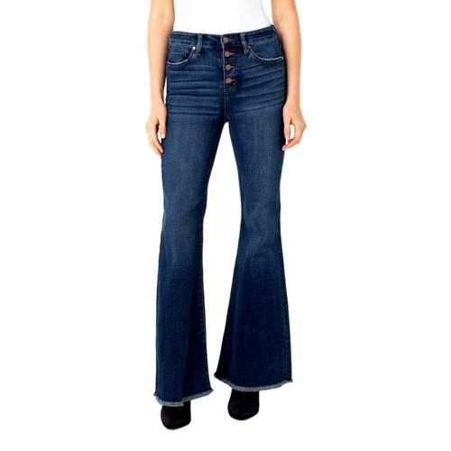 Liverpool Women's Hi-Rise Flare Exposed Buttons Fray Hem Jeans Missoula