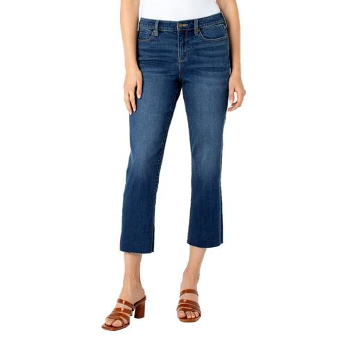 Liverpool Women's Crop Straight with Fray Hem Jeans Teatree