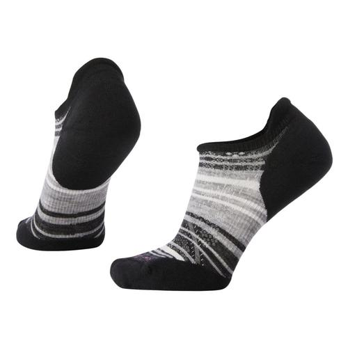 Smartwool Women's PhD Run Light Elite Striped Micro Socks Blkgry_007