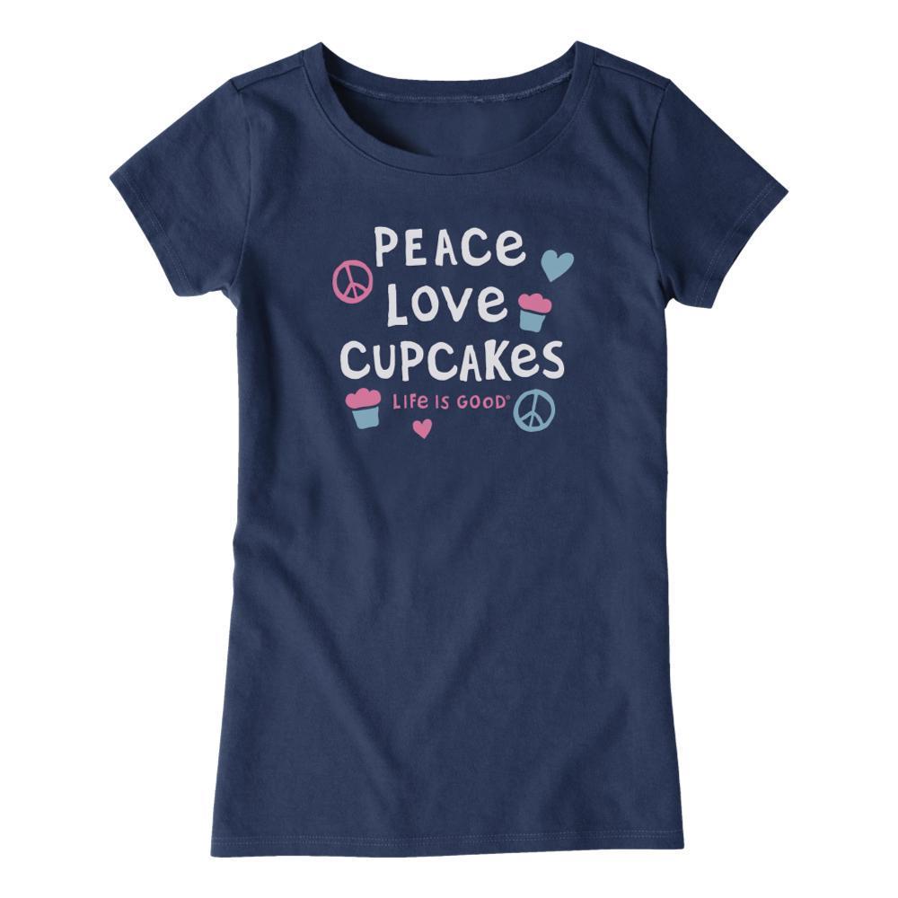 Life is Good Girls Peace Love Cupcakes Crusher Tee DRKSTBLUE