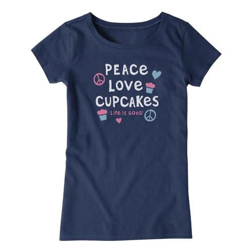 Life is Good Girls Peace Love Cupcakes Crusher Tee Drkstblue