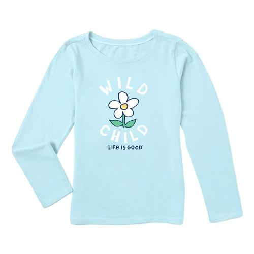 Life is Good Girls Wild Child Long Sleeve Crusher Tee Bchblue
