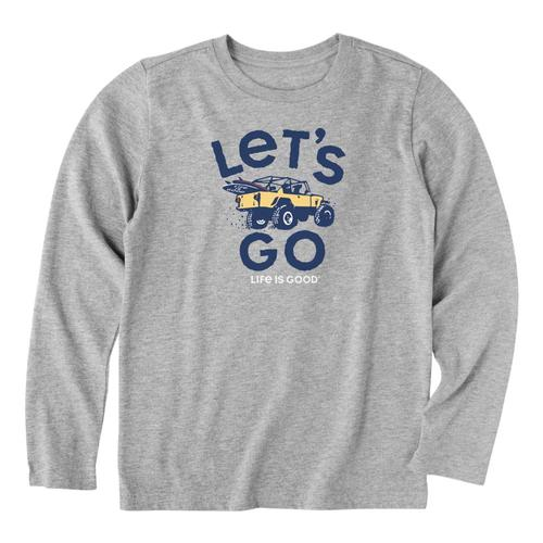 Life is Good Boys Let's Go 4x4 Long Sleeve Crusher Tee Hthrgray