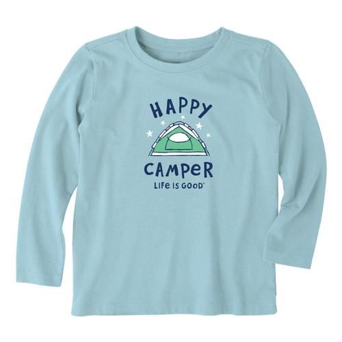 Life is Good Boys Happy Camper Long Sleeve Crusher Tee Bchblue