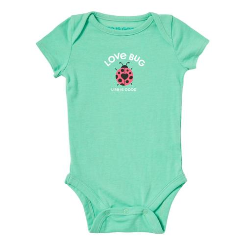 Life is Good Baby Love Bug Crusher Bodysuit Sprgreen