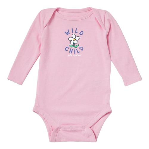 Life is Good Baby Wild Child Long Sleeve Crusher Bodysuit Hpypink